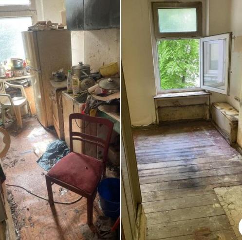 Messi Wohnungsauflösung Berlin Küche -Vorher Nachher