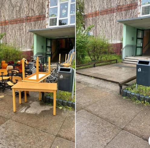 Spermüllentsorgung Schule Sperrmüllabholung Berlin Marzahn - Stühle Tische entsorgen, Sperrmüll Berlin Vorher Nachher