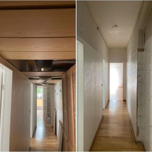 Wohnungsauflösung Berlin - Vorher Nachher - Flur mit Einbauschrank entsorgen, Wohnung räumen lassen Berlin, kosten Wohnungsauflösung, Besenreine wohnungsauflösung, wohnungsräumun, Deckenpaneele entsorgen, Deckenleuchte entsorgen