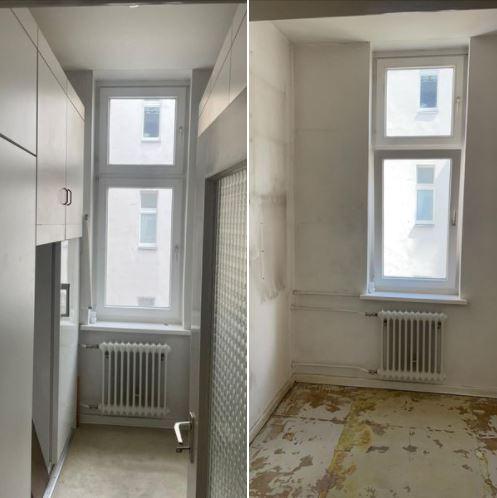 Wohnungsauflösung Berlin - Zimmer Vorher-Nachher - Kleiderschrank entsorgen-auslegware entsorgen