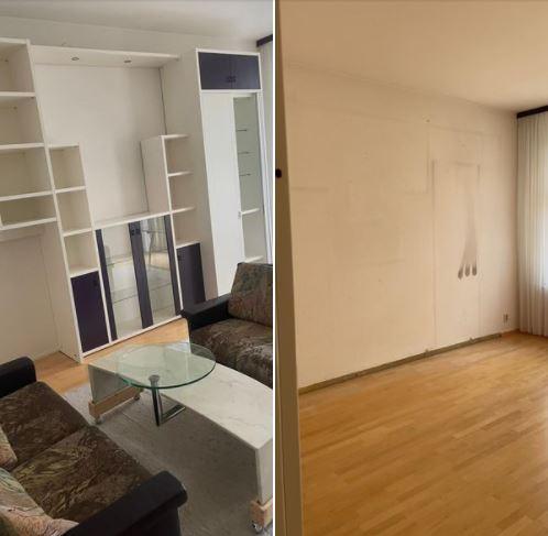 Wohnungsauflösung Berlin - Vorher-Nachher Zimmer mit Couch, Couchtisch entsorgen, Wandschrank entsorgen - Couch entsorgen