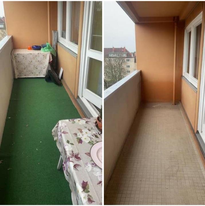 Wohnungsauflösung Berlin - Balkon vorher nachher - Wohungsräumung Berlin Besenrein, teppich entsorgen, tisch entsorgen
