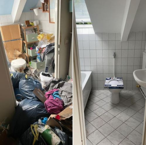 Messi Wohnungsräumung Berlin - Bad Vorher Nachher, Messi-Müll, Müllsack auf dem Boden, Toilette voll, kein Durchgang zur Toilette, Messi-Wohnung, Nach der Messi Wohnungsräumung alles sauber, rein, nachher Foto zeigt ergebnis, zusatzarbeiten wie Malern wurde gemacht, wieder bewohnbar