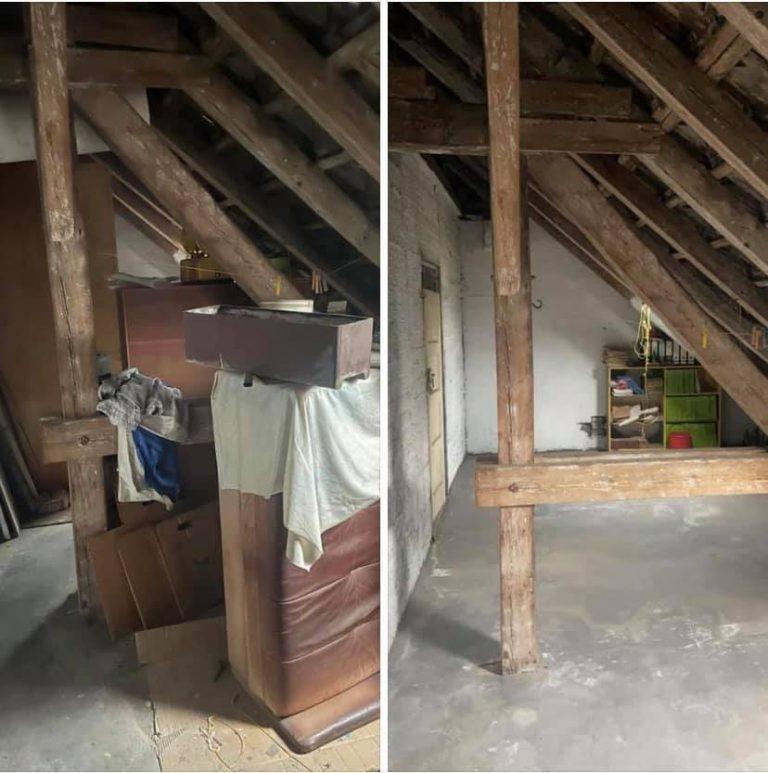Dachboden entrümpeln Berlin - Dachboden entrümpelung vorher nachher - Couch entsorgen Karton Sperrmüll wegschmeißen